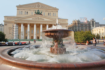 Fountain in front of  Bolshoi theatre, Moscow, Russia