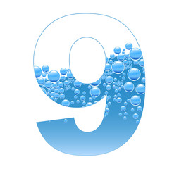 Bubbles and Water Isolated Alphabet Number nine 9