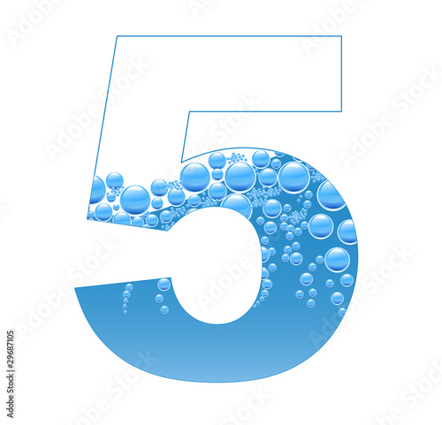 Bubbles and Water Isolated Alphabet Number Five 5