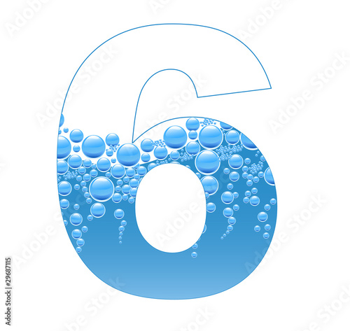 Bubbles and Water Isolated Alphabet Number Six 6