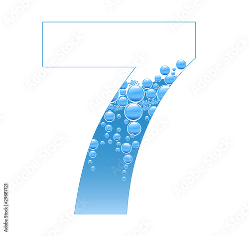 Bubbles and Water Isolated Alphabet Number Seven 7