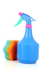 Bottle sprayer and sponge for cleaning on white