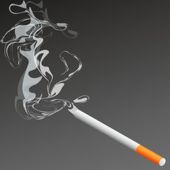 cigarette with smoke illustration