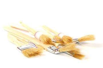 paintbrushes on white background