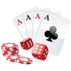 Ambiance poker : carré d'as avec des dés double 6 et les jetons