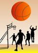 Basketball team and ball