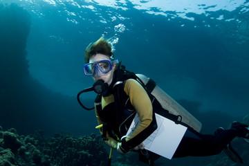 Female student scuba diver