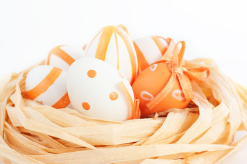 Easter eggs in orange tones