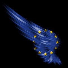 Abstract wing with Europe Union flag on black background