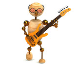 3d wood man bass guitar player