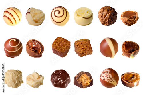 collection of mixed chocolates against a white background