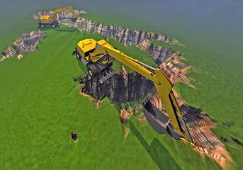 Italia 3d cartina fisica scavata scavatrice