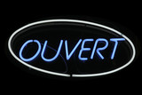 Ouvert neon signage poster