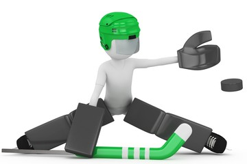 3d man with hockey gear