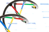 DNA model on DNA sequence transparency slide poster
