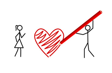 Stickman's valentine - two stickmans in love