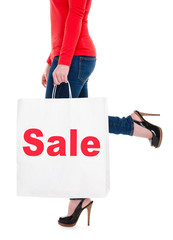 Close-up of Woman Holding Sale Shopping Bag