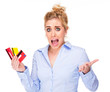 Money & Debt Worries, Young Woman Stressed by Credit Cards