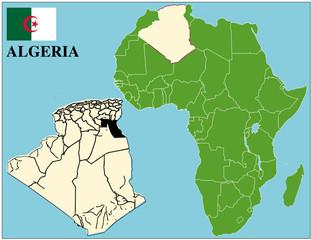 Algeria emblem map africa world business success background