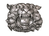 Silver lion .Metal relief work pattern