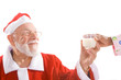 Santa Taking Glass of Milk From Hand Isolated