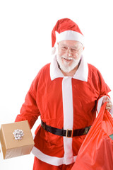 Happy Santa Suit Holding Present and Sack Isolated