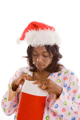 Black Woman Looking Peeking Christmas Stocking