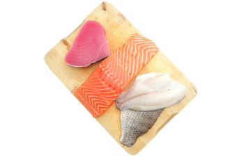 fresh sole , salmon , and red tuna fish