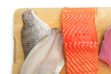 sole , salmon , and red tuna fish