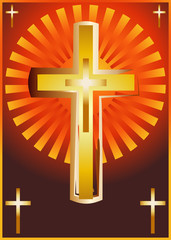 Christian church cross, religious spiritual symbol illustration