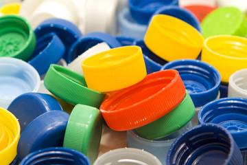 Plastic caps background