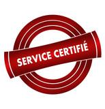 service certifié sur vignette rouge poster