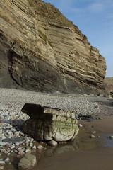 Shale rock cliff.