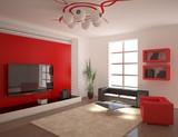 red minimal interior poster