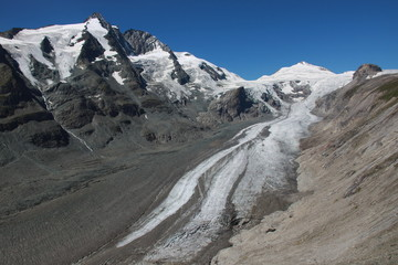 Pasterze glacier, Grossglockner and Johannisberg mountains