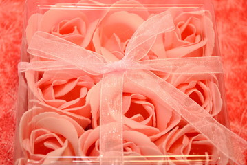 Pink Rose Soap with a Bow