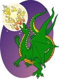Young dragon practicing his fire breathing skills poster