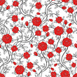 Seamless rose flower pattern . Vector Illustration