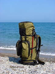 Backpack on the sea