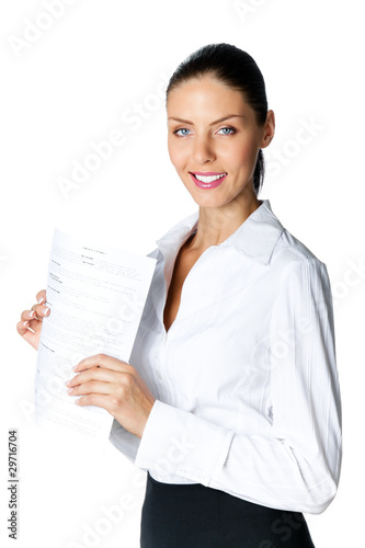 Young smiling businesswoman with document, isolated