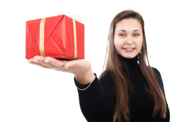 Girl offer the present