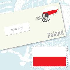 Poland country flag stamp