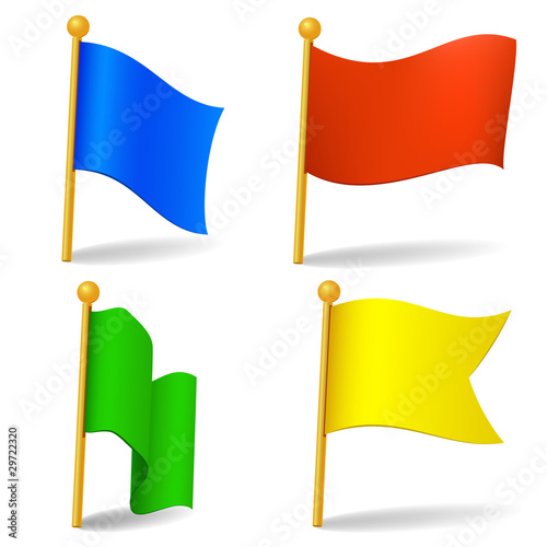 Set of vector color cartoon flags
