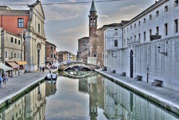 Chioggia channel with bell tower