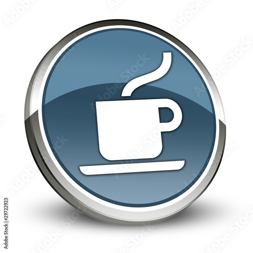 "Dark Blue 3D Style Icon ""Coffee Shop / Hot Beverage"""