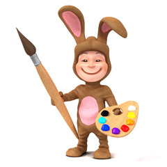 3d Child dressed as Easter bunny wants to paint
