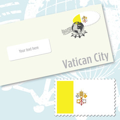 Vatican City country flag stamp