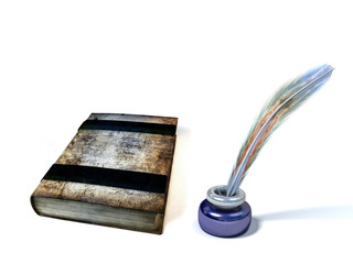 Old book, inkstand isolated on white