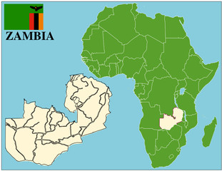 Zambia emblem map africa world business success background