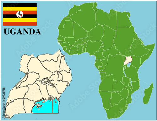 Uganda emblem map africa world business success background